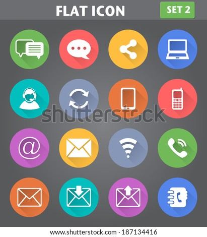 Vector application Communication Icons set in flat style with long shadows. - stock vector