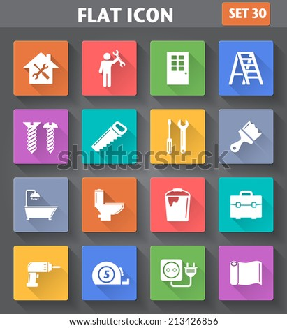Vector application Home Repair and Tools Icons set in flat style with long shadows. - stock vector