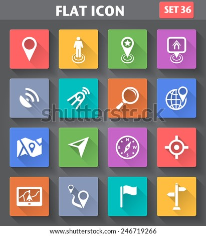 Vector application Location, Navigation and Map Icons set in flat style with long shadows. - stock vector