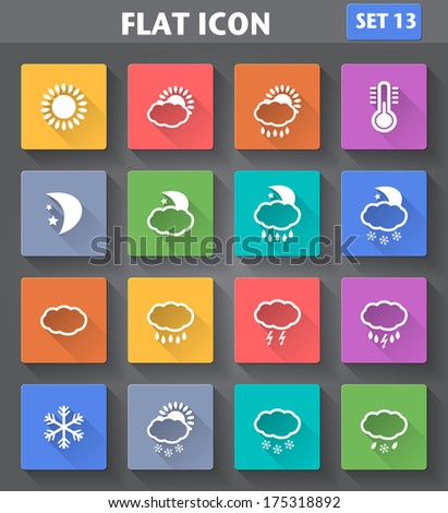 Vector application Weather Icons set in flat style with long shadows. - stock vector