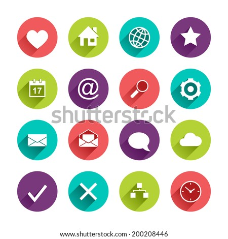 Vector Application  Web Icons Set in Flat Design with Long Shadows on circle buttons with heart home globe star calendar mail search gear envelope speech bubble cloud map clock yes no signs - stock vector