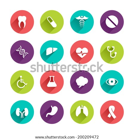Vector Application  Web Icons Set in Flat Design with Long Shadows on circle buttons with tooth pill caduceus liver heart laboratory brain eye kidney lung cancer DNA stomach disabled signs - stock vector