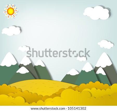 Vector applique. Mountain landscape - stock vector