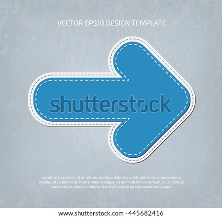 Vector applique style rounded arrow icon. Layered, double stitched - stock vector