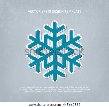 Vector applique style snowflake icon. Layered, double stitched - stock vector