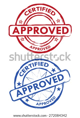 Vector Approved Certified Stamps in Red and Blue Grunge Style. Editable EPS10 Illustration and jpeg version.  - stock vector