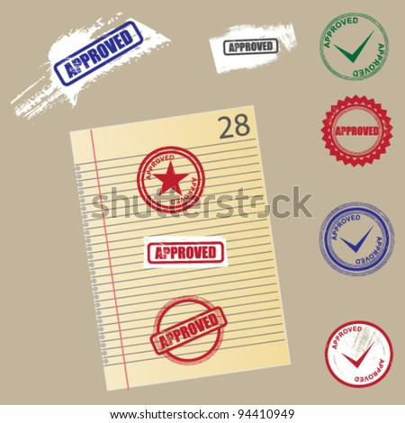 Vector Approved Stamps - stock vector