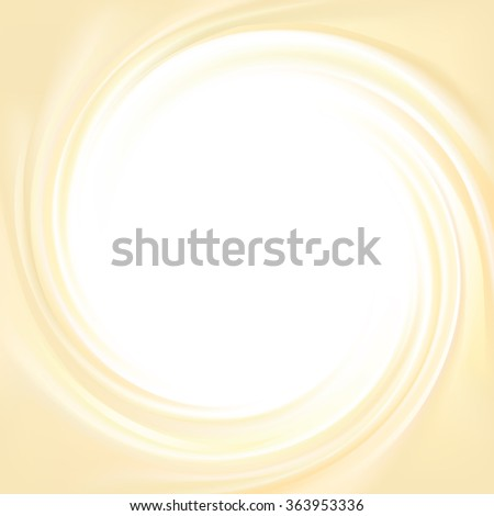 Vector aqua futuristic luxury yellow modern backdrop of soft shiny swirling rippled curvy texture. Closeup view with space for text in glowing center in middle of funnel  - stock vector