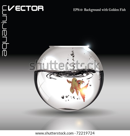 Vector Aquarium with Golden Fish - stock vector