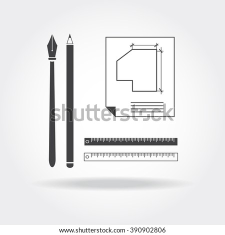 Vector architect tools set. Drawing insrtruments collection. Pen, pencil, draft, rulers and project icons. School symbol. Engineering work equipment. Geometry studying objects. - stock vector
