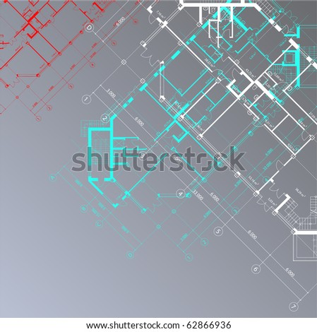 Vector  architectural background with plans of buildings on the gray square background (see jpg version in my portfolio) - stock vector