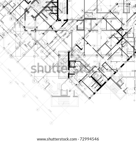 Vector architectural black and white background with plans of building (see jpg version in my portfolio) - stock vector