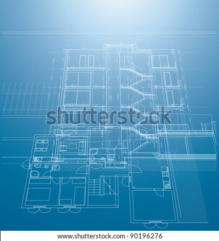 vector architectural blueprint background with building print