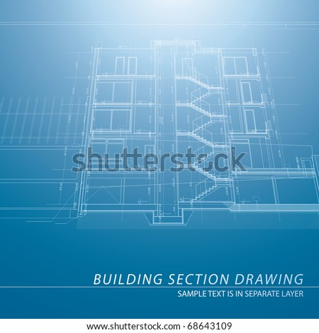 Vector architectural blueprint background building section stock vector architectural blueprint background with building section malvernweather