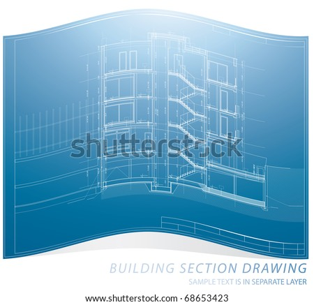 vector architectural blueprint background with building section