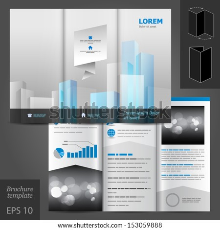Vector Architectural Brochure Template Design Blue Stock Vector