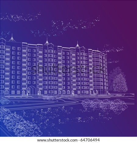 Vector architectural graphic background with building (see jpg version in my portfolio) - stock vector