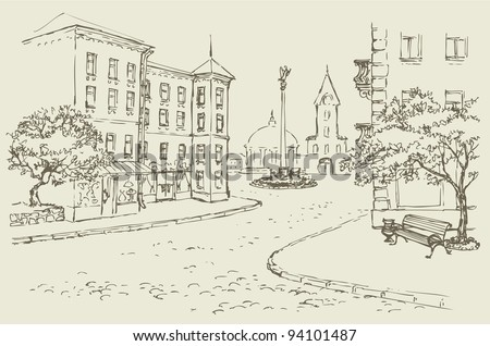 Vector architectural landscape. Old street of the city center with access to the main square - stock vector