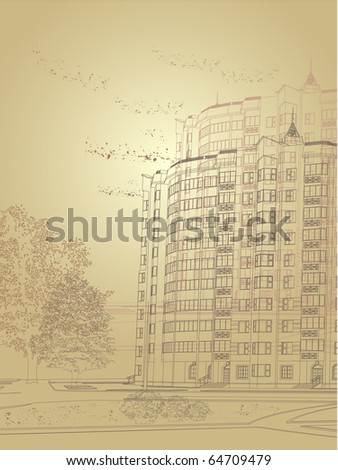 Vector Architectural sepia city background (see jpg version in my portfolio) - stock vector