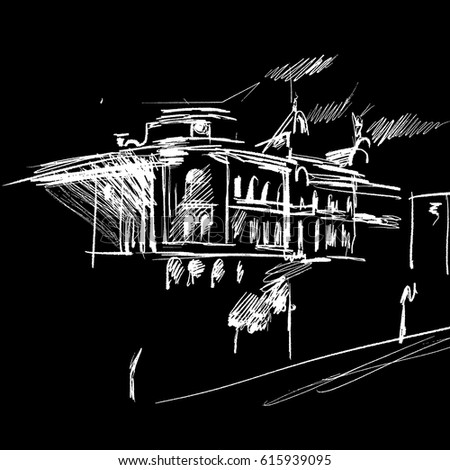 Vector Architectural Sketch Cityscape Modern European Architecture Detailed Drawing