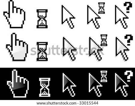 Vector arrow and hand cursor series - stock vector