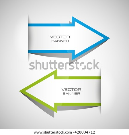 Vector Arrow banners set. Direct shape. 3d Abstract Background. Business infographic presentation diagram. Section compare service. Up and down trend. Paper index. Exact pointer - stock vector