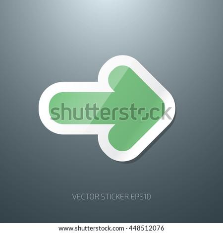 Vector arrow glossy paper sticker icon - stock vector