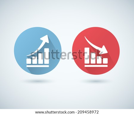 Vector arrow graph icons - stock vector