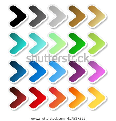 Vector arrow stickers. Black, grey, silver, dark, golden, cyan, turquoise, blue, green, purple, red, orange and yellow label with white outline. Simple buttons.