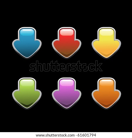 Vector arrows - download buttons - stock vector