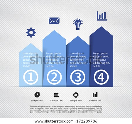 Vector arrows for infographic. Template for diagram, graph, presentation and chart. Business concept with four options, parts, steps or processes. Abstract background. - stock vector
