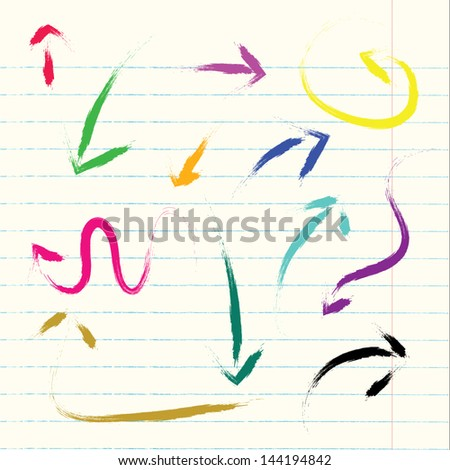 Vector arrows hand drawn paint colorful set design - stock vector