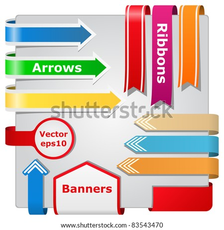 Vector Arrows, Ribbons and Banners - stock vector