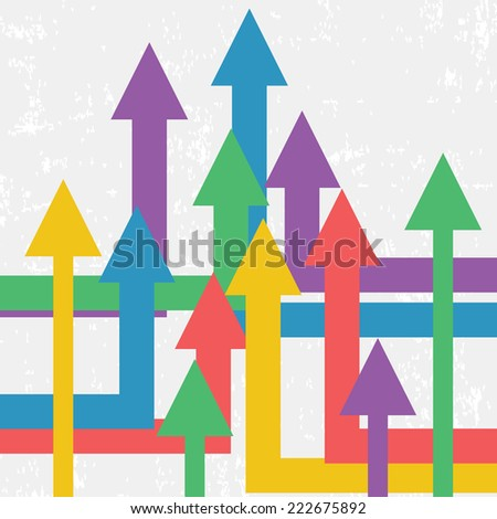 Vector Arrows Showing Growth. Vector Background. Retro Business Template  - stock vector