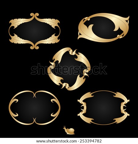 Vector art deco gold frames with space for text. - stock vector