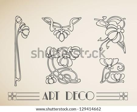 Vector art deco ornamental flower pattern - stock vector