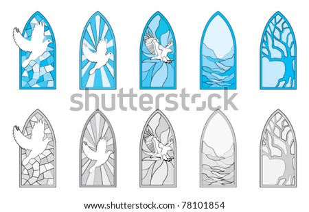 Vector art depicting isolated stained glass window - stock vector