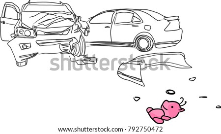 Vector Art Drawing Car Accident Pink Stock Vector HD (Royalty Free ...