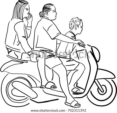 Vector art drawing of family on bike, Family travel by scooter on white background