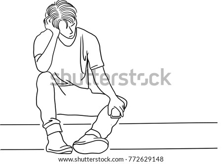 Vector art drawing of frustrated young man touching his head and keeping eyes closed while sitting