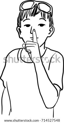 Line Drawing Quiet : Vector art drawing silent please sign stock