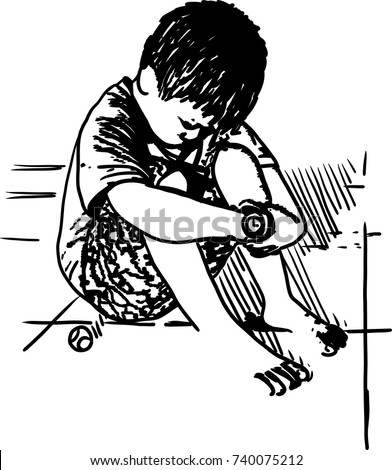 Vector art drawing of very sad little boy sitting alone on white background lonely sad