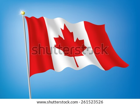 Vector art flags waving illustration:Canada - stock vector