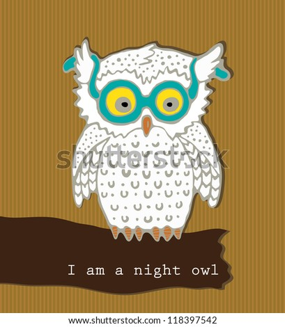 Vector art. Image cute owls on striped background./ I am a night owl - stock vector