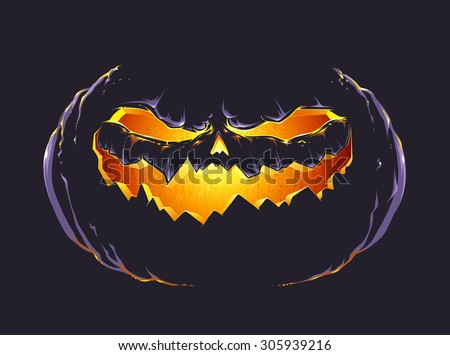 Vector art of halloween pumpkin glowing in darkness.  - stock vector