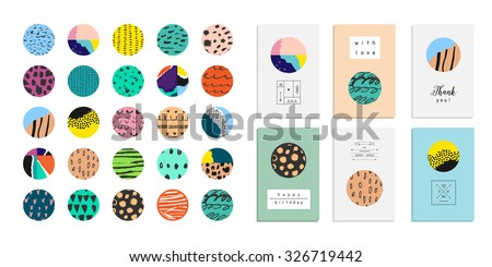 Vector art of label design. Collection of decor elements and stickers with hand drawn textures made by ink. Beautiful Scrapbook Elements. Ideal for cards, posters, invitations. Isolated. - stock vector