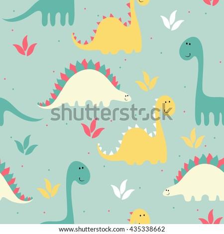 vector art seamless pattern with Cartoon dinosaur - stock vector