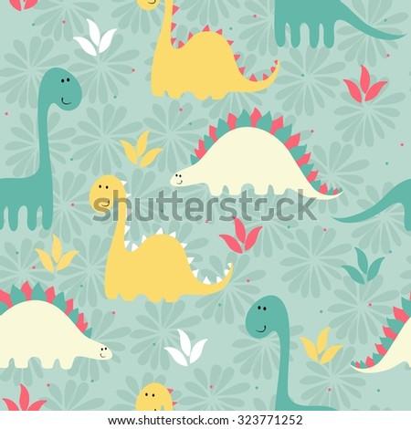vector art seamless pattern with Cartoon dinosaurs - stock vector