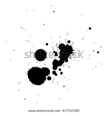Vector artistic black paint hand made creative wet dirty ink or oil drop spots silhouette isolated on white background, metaphor to art, grunge or grungy, decoration, education abstract symbol design