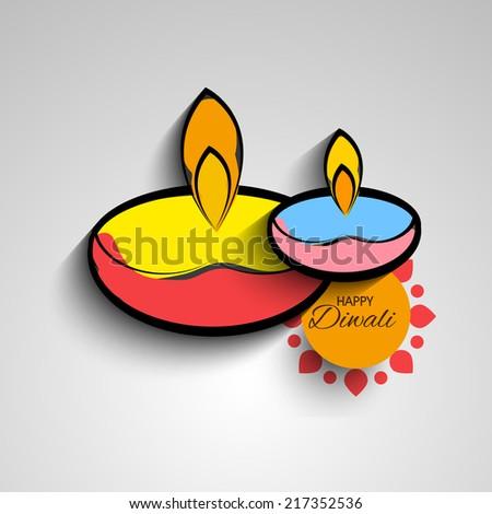 Vector artistic diya for Diwali Festival. - stock vector